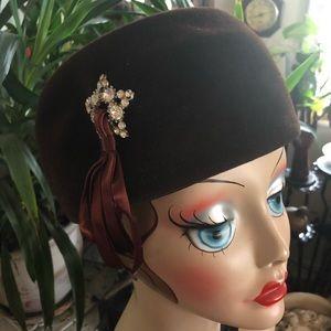 Vintage Brown Velour Wool Hat